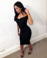 Womens Black Bardot Midi Little Black Dress Bodycon Off shoulder Ladies UK❤