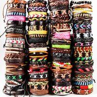 30x Mix lot Genuine Leather Bracelets Men's Wristbands Manmade Wholesale Jewerly