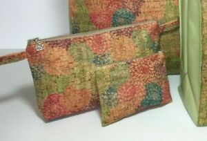 UK Handmade Cork Lined Wash-Bag & Purse in Peony made by Nikki's Original Totes