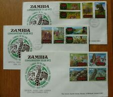 Zambia Conservation Year 1972:  all 3 issues on very fine FDCs