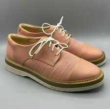 """NEW Clarks """"Zante Sienna"""" Ladies Pink Leather Canvas Brogues Shoes UK 6.5 D"""