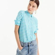 J. Crew White Turquoise Gingham Plaid Boy Style Button Down Shirt Sz.8p-M