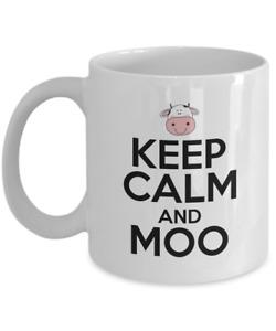 Cow Coffee Mug Gift - Keep Calm And Moo , 11 oz