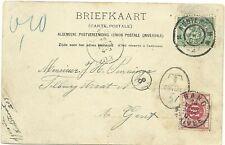 """AK van Amsterdam (1903) naar """"T"""" stempel+BELGIE Beport 10ctms """"Te betalen"""" rood"""