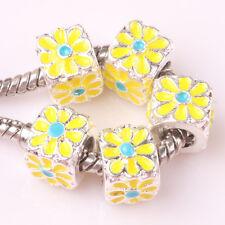 NEW 5pcs Tibetan silver lampwork spacer beads fit Charm European Bracelet #C172