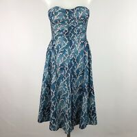 Anthropologie HD in Paris Size 00 Strapless Dress Blue Coral