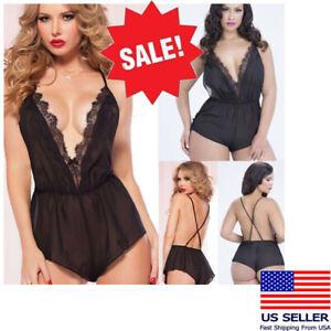 Women's Black V Neck Bodysuit Teddy Tank Sheer Lace Trim Short Back Garter S-5XL