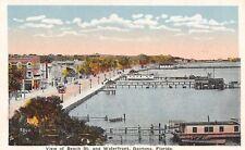 Daytona Beach FL Pier & Docks~Houseboat~c1920 Autos on Boardwalk~Postcard