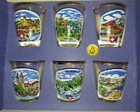 Fun Vintage Swiss shot glasses Set of 6 New in original box with Tags!