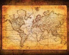 World Map Antique Vintage Old Style Decorative Educatiional Poster Print 16x20