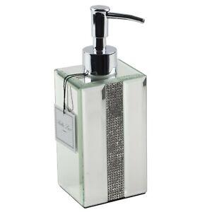 Bella Lux Sparkling Mirrored Rhinestones Soap Lotion Dispenser Mirror