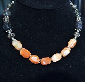 Statement Gemstone necklace, Agate necklace, Black jasper (1009)