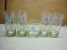 Set of Corelle Shadow Iris 4 Glasses Tumblers 1 Old Fashioned