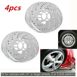 4*Tone Cross Drilled Car Disc Brake Rotor Covers Drum Brake Aluminum Alloy 2.95""