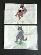 PAIR King CAT Pillowcases Applique Bride Groom Cats - Male Female Felines Cute