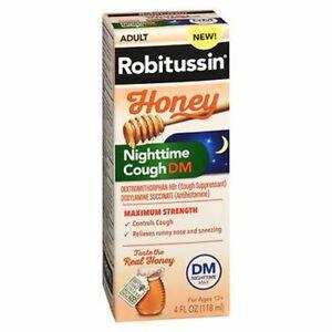Robitussin Adult Honey Nighttime Cough DM 4 Oz