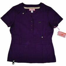 Koi Womens Medical Uniform Scrub Top Purple Eggplant Kendall XS X-Small 321-105