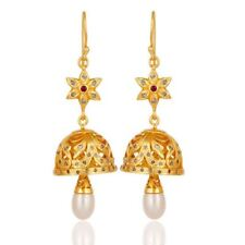 Pave Diamond Ruby Pearl 18K Gold Plated 925 Sterling Silver Dangle Earrings