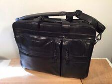 Tumi Alpha Black Leather Shoulder Bag Expandable Laptop Briefcase Carry On Brief