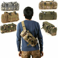 Canvas Backpack Military Tactical Rucksack Molle Outdoor Hiking Travel Waist Bag