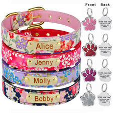 Floral Personalized Dog Collar Free Engraved Name Dogs Tag Adjustable Puppy Xs-L