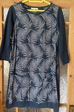 White Stuff Knit Tunic/ Dress with pockets Fern Pattern Front 3/4 Sleeves UK14