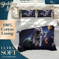 Explore Astronaut Nature Space Black Quilt Cover Doona Duvet Cover with 2x Shams