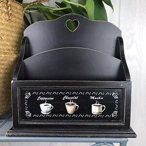 Wooden Countertop Mail Kitchen Organizer Black Farmhouse Coffee Theme