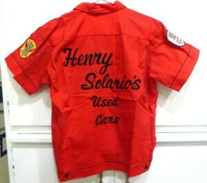 Vintage Hilton Embroidered Bowling Shirt Solario's Used Cars Small Rockabilly
