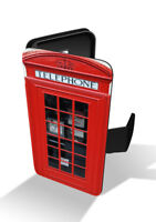 Red Telephone Booth Box London Retro Vintage Wallet Leather Phone Case