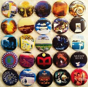Moody Blues PIN BUTTON LOT 25 Lp Album Discography Justin Hayward Psychedelic