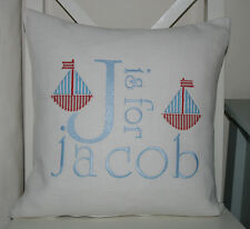 Personalised Gift Boys Cushion Cover Birth, Christening, Birthday Appliqued