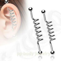 "14G~1-1/4"", 1-3/8"", 1-1/2"", 1-5/8"" Surgical Steel Spiral Industrial Barbell"