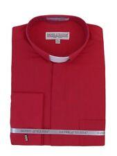 Men's Clergy Tab Collar Long Sleeve Dress Shirt RED Frenchcuff Pastor Preacher