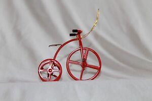 Midwest Importers Red Metal Christmas Ornament Tricycle Trike Three Wheel Bike