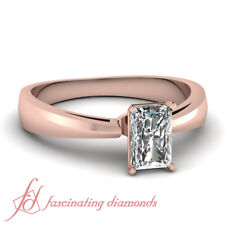 Half Carat Radiant Cut Simple Comfort Fit Cathedral Rose Gold Engagement Ring
