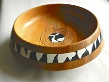 Hand turned wooden bowl in English Ash with Milliput decor