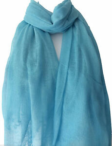 Turquoise Blue Scarf Ladies Fair Trade 100% Pure Cotton Light Weight Wrap Shawl