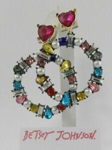 Betsey Johnson Hematite-Tone Multicolor Crystal & Imitation Pearl Drop Hoop