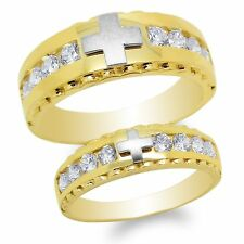 Two Tone Channel Ring Size 4-12 Men/Ladies Couple Set 10K Yellow Gold Cross
