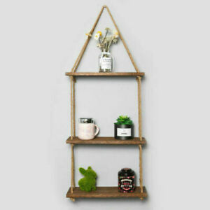 Wooden Hanging Rope Shelf Wall Mounted Floating Shelf Storage Rustic  3 Tiers