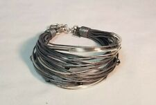 SILPADA Sterling Silver Hematite Glass Grey Leather Bracelet B2143 Gray Toggle