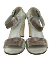"""Gucci """"Karung"""" Taupe Lizard Exotic Skin Shoes Stacked Heel Ankle Strap 8US 38EUR"""