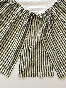 "Pottery Barn QUEEN Bed Skirt 14"" Drop Striped Gray Cream Oxford Ticking Ruffles"