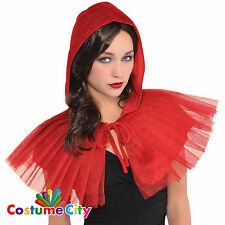 Womens Ladies Little Red Riding Hood Hooded Capelet Fancy Dress Cape Accessory