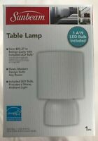 Sunbeam WHITE Table Lamp with 1 A19 LED Bulb Included Brand New