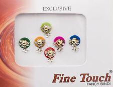 Bindi bijoux de peau front multicolore et strass 12mm dot tilak INH-2-B 27
