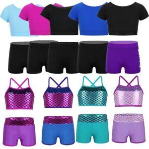 2PCS Girls Dancewear Leotard Outfit Ballet Gymnastics Crop Top + Shorts Workout