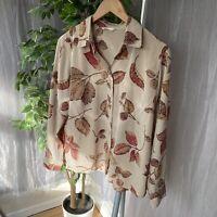 M&S Mocha Seasonal Multi Leaf Print SIZE 14 UK Button Up Long Sleeve Blouse