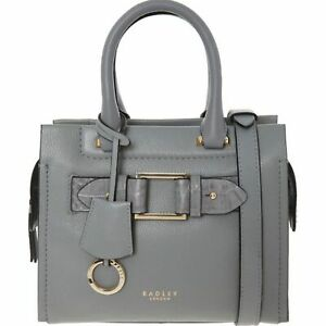Agnes Street Medium Zip Top Multiway Bag Grab Shoulder Grained Leather New Grey